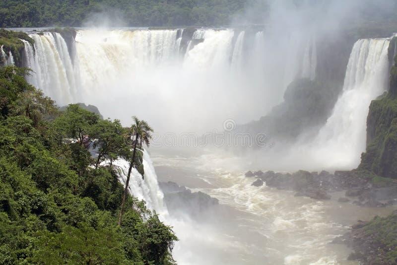 Άποψη ενός τμήματος των πτώσεων Iguazu, από την πλευρά της Βραζιλίας στοκ φωτογραφία με δικαίωμα ελεύθερης χρήσης