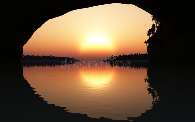 Τροπικό ηλιοβασίλεμα από τη σπηλιά απεικόνιση αποθεμάτων