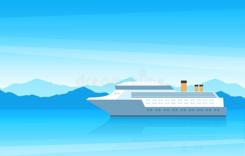 Άποψη ενός όμορφου μεγάλου άσπρου κρουαζιερόπλοιου στο ταξίδι διανυσματική απεικόνιση