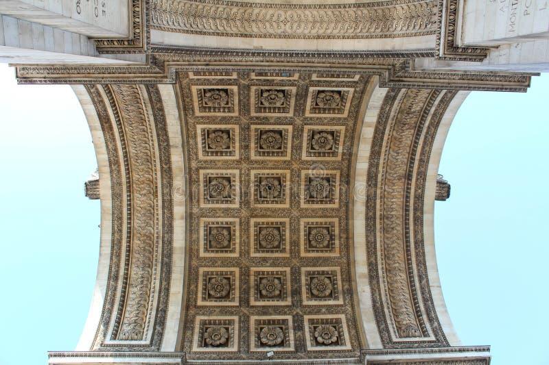 Άποψη λεπτομέρειας του τόξου de Triomphe (αψίδα του θριάμβου) στοκ φωτογραφία με δικαίωμα ελεύθερης χρήσης