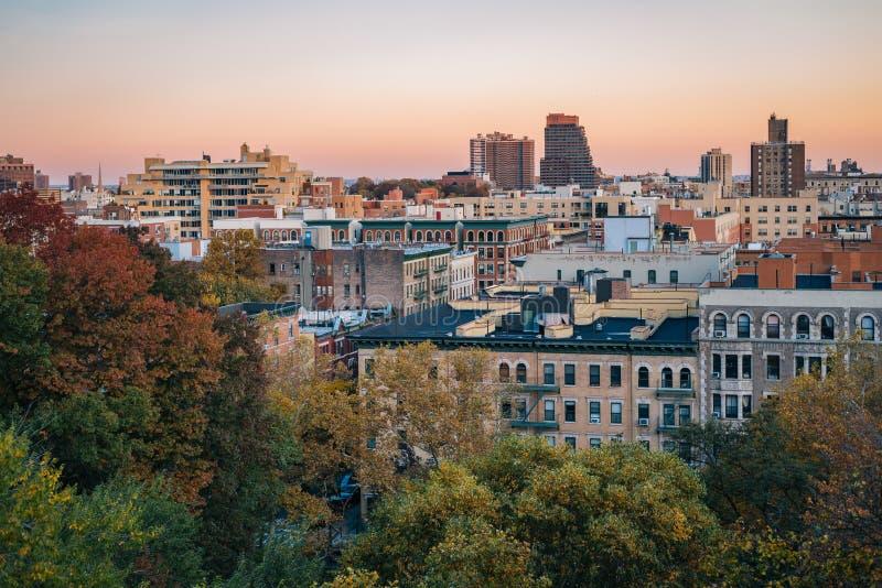 Άποψη ηλιοβασιλέματος φθινοπώρου Harlem από τα ύψη Morningside, στο Μανχάταν, πόλη της Νέας Υόρκης στοκ εικόνες