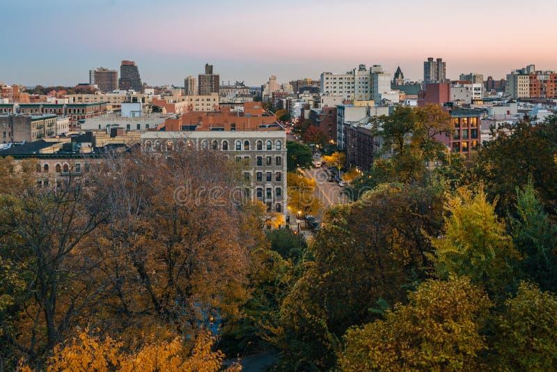Άποψη ηλιοβασιλέματος φθινοπώρου Harlem από τα ύψη Morningside, στο Μανχάταν, πόλη της Νέας Υόρκης στοκ φωτογραφία