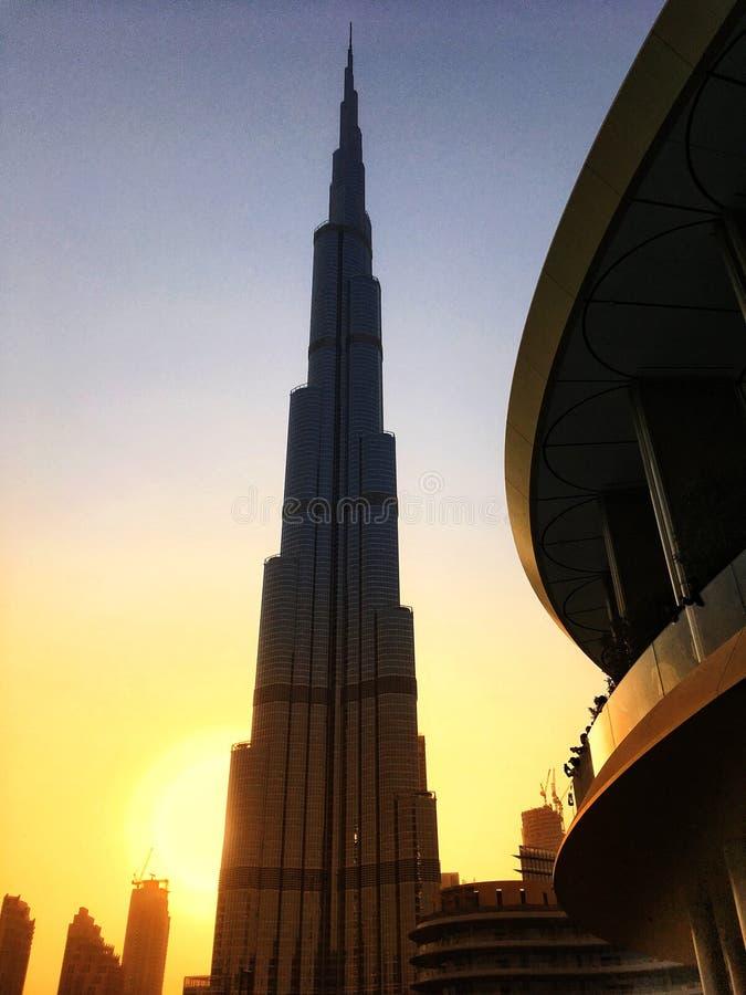 Άποψη ηλιοβασιλέματος Khalifa Burj στοκ εικόνα