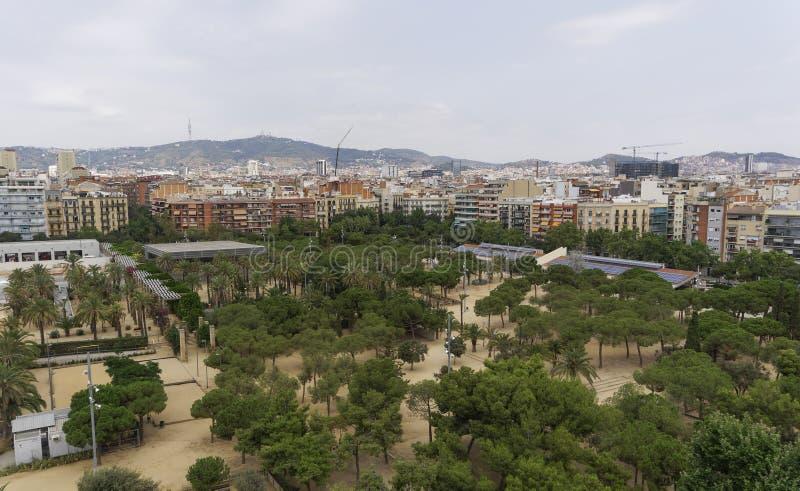 Άποψη ημέρας πάρκων της Βαρκελώνης Ισπανία Juan Miro στοκ φωτογραφία
