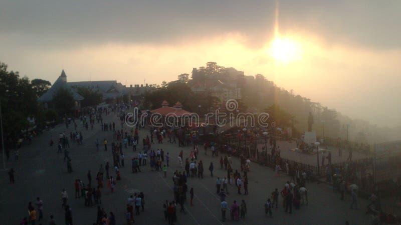 Άποψη ηλιοβασιλέματος πόλεων Simla στοκ εικόνα με δικαίωμα ελεύθερης χρήσης