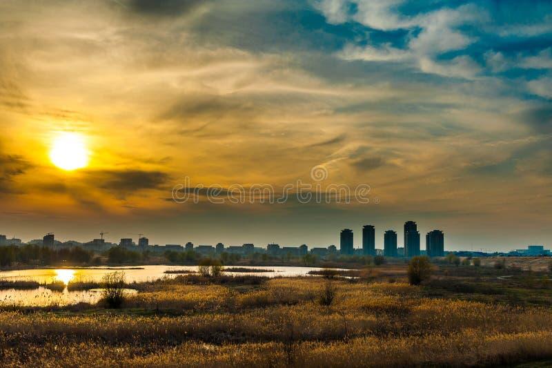 Άποψη ηλιοβασιλέματος τοπίων του Βουκουρεστι'ου του υδρόβιου οικοσυστήματος στην παλαιά λίμνη Vacaresti στοκ φωτογραφία