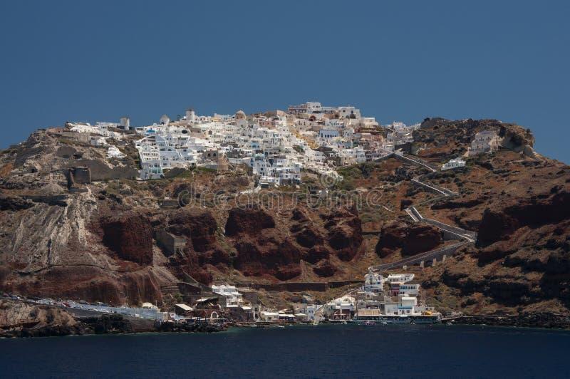 Άποψη θάλασσας Oia στην πόλη, Santorini στοκ εικόνες