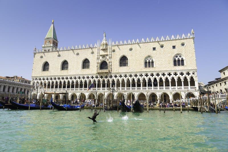 Άποψη θάλασσας του παλατιού καμπαναριών και Doge στην πλατεία Αγίου Marco στοκ εικόνες