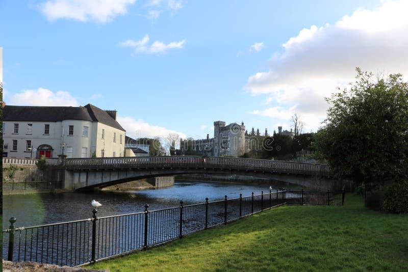 Άποψη κιγκλιδωμάτων όχθεων ποταμού kilkenny της πόλης και της γέφυρας κάστρων στοκ εικόνα