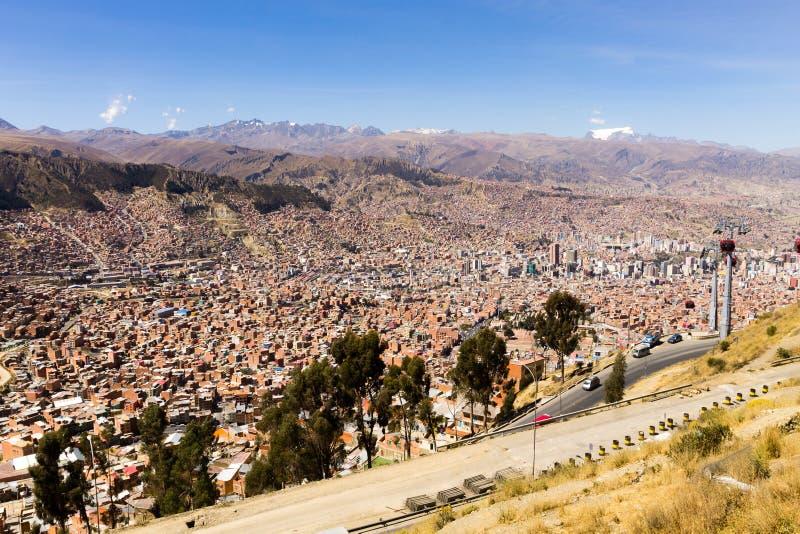Άποψη Λα Παζ από τη EL Alto, Βολιβία στοκ φωτογραφία