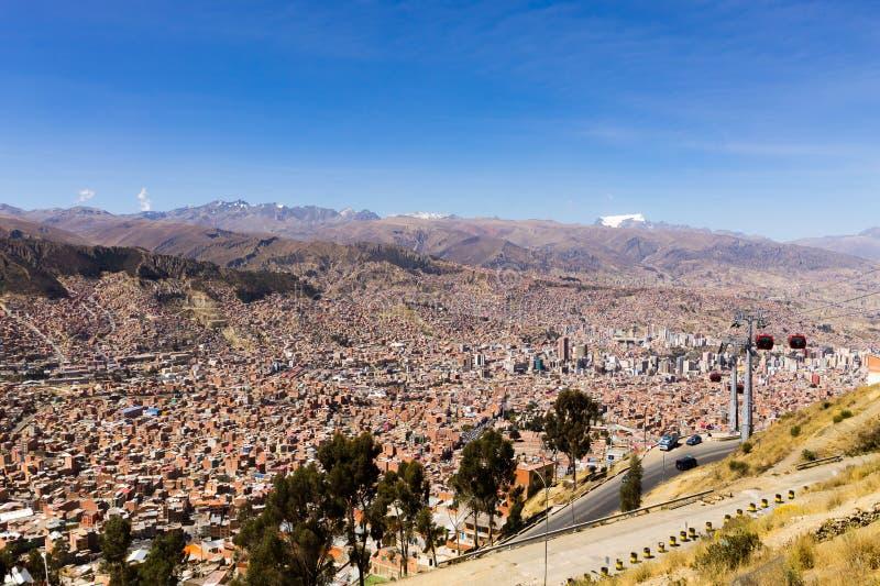 Άποψη Λα Παζ από τη EL Alto, Βολιβία στοκ φωτογραφίες