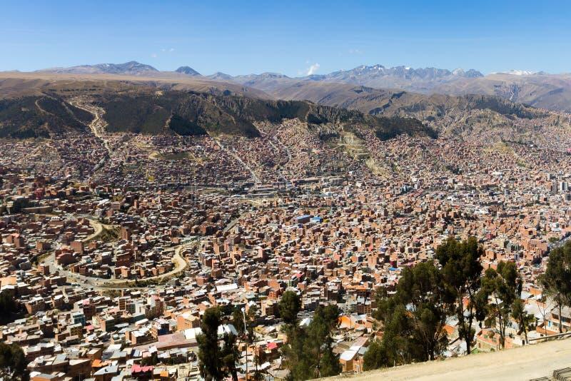Άποψη Λα Παζ από τη EL Alto, Βολιβία στοκ εικόνες
