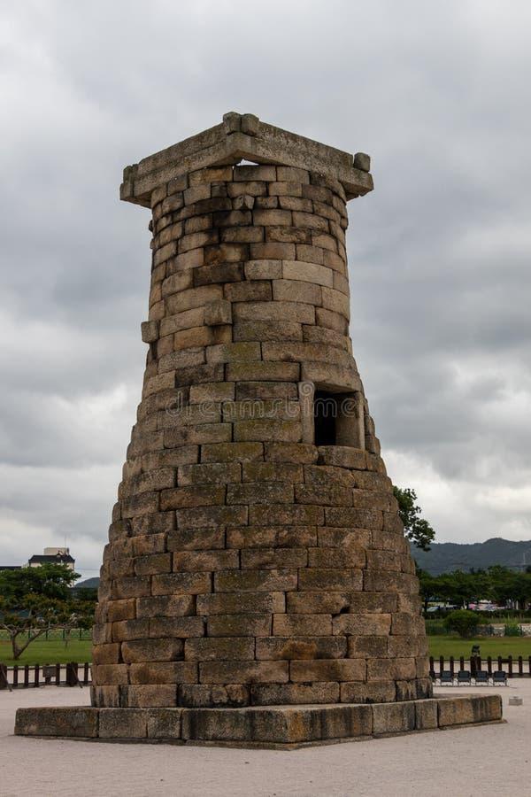 Άποψη λεπτομέρειας σχετικά με κορεατικό ιστορικό Cheomseongdae το παλαιότερο επιζόν αστρονομικό παρατηρητήριο στην Ασία Εθνική κλ στοκ φωτογραφία