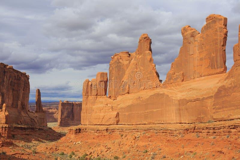 Άποψη λεωφόρων πάρκων στο εθνικό πάρκο αψίδων Moab, Γιούτα, ΗΠΑ στοκ εικόνα με δικαίωμα ελεύθερης χρήσης