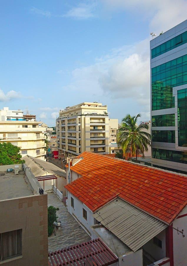 Άποψη μέρους του κέντρου πόλεων στη Σενεγάλη στοκ εικόνες