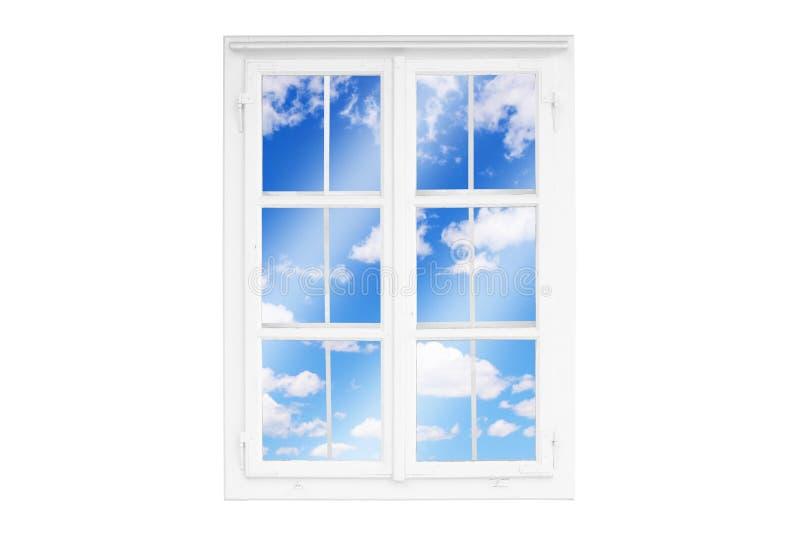 Άποψη μέσω του παραθύρου στα άσπρα σύννεφα, ουρανός Έννοια της χαλάρωσης, καλή διάθεση διανυσματική απεικόνιση