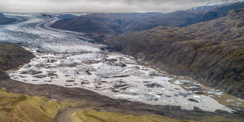 Άποψη ματιών κηφήνων παγετώνων της Ισλανδίας στοκ εικόνες με δικαίωμα ελεύθερης χρήσης