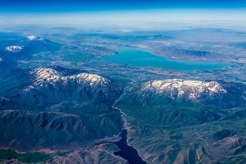 Άποψη μεγάλου υψομέτρου της λίμνης της Γιούτα κοντά σε Provo, Γιούτα στοκ φωτογραφίες με δικαίωμα ελεύθερης χρήσης