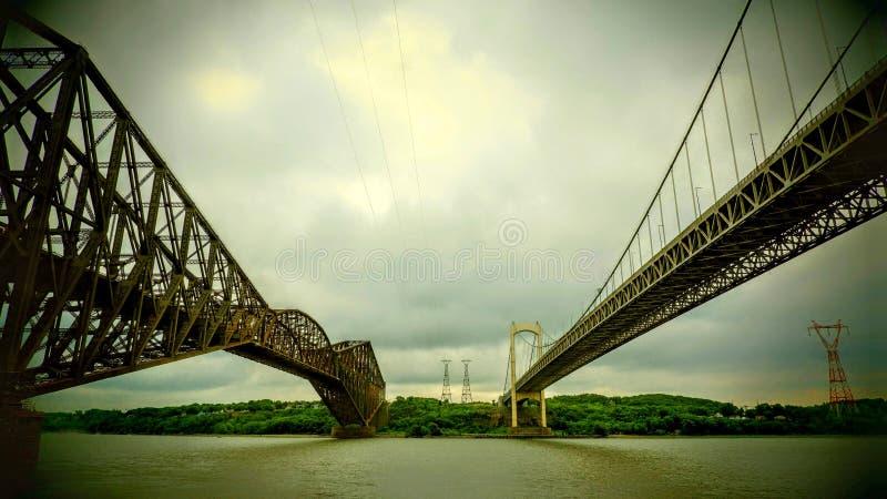 Άποψη μεταξύ δύο γεφυρών πέρα από τον ποταμό του ST Lawrence στοκ εικόνες