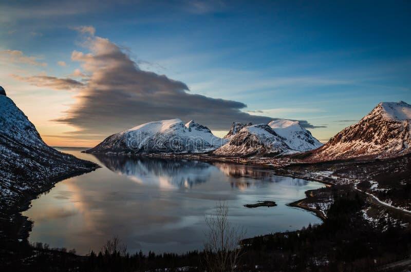 Άποψη Νορβηγία, Senja Ersfjord στοκ φωτογραφίες με δικαίωμα ελεύθερης χρήσης