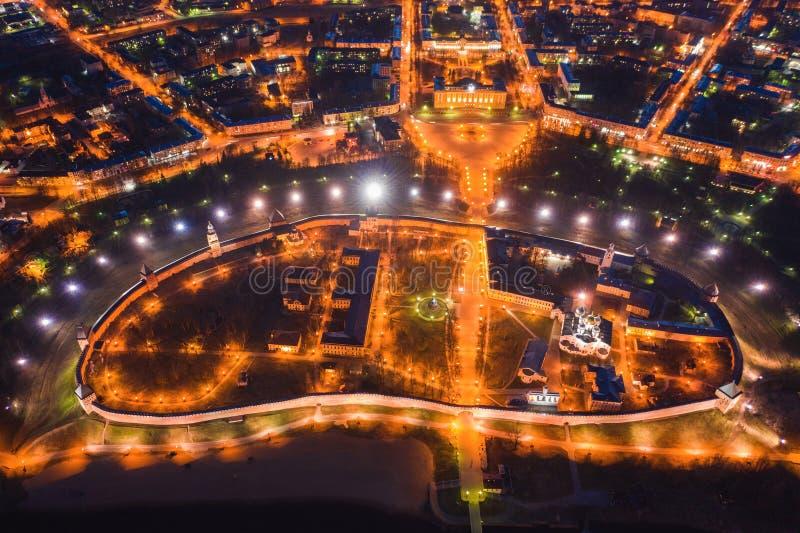 Άποψη νύχτας από μια πανοραμική θέα του κέντρου πόλεων Veliky Novgorod στοκ φωτογραφία με δικαίωμα ελεύθερης χρήσης