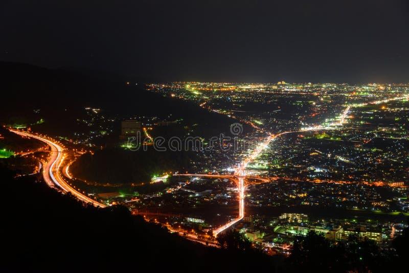 Άποψη νύχτας στην περιοχή Seisho, Kanagawa, Ιαπωνία στοκ εικόνα με δικαίωμα ελεύθερης χρήσης
