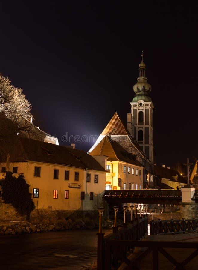 Άποψη νύχτας της πόλης Cesky Krumlov στοκ εικόνα