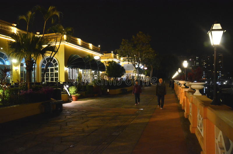 Άποψη νύχτας της πλατείας Gold Coast, Χονγκ Κονγκ στοκ εικόνα με δικαίωμα ελεύθερης χρήσης