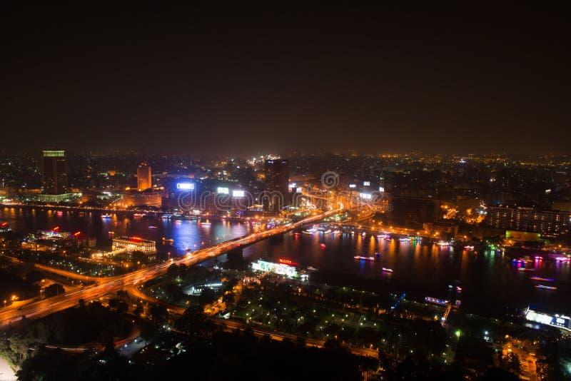 Άποψη νύχτας του Καίρου από τον πύργο του Καίρου στοκ εικόνα με δικαίωμα ελεύθερης χρήσης