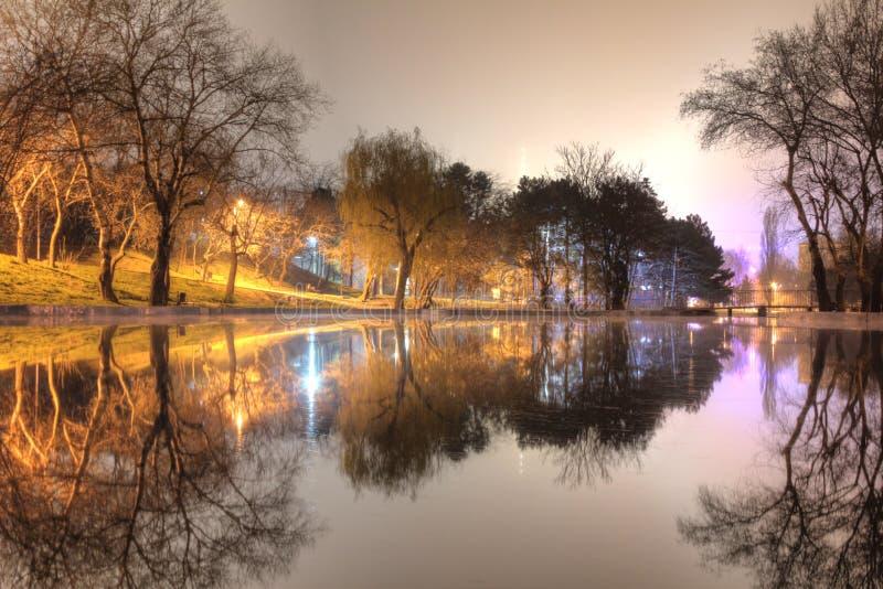 Άποψη νύχτας του πάρκου και της λίμνης στοκ φωτογραφίες με δικαίωμα ελεύθερης χρήσης