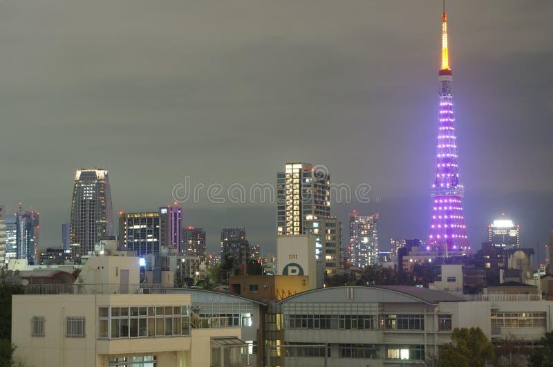 Άποψη νύχτας του πύργου του Τόκιο, Ιαπωνία στοκ εικόνες