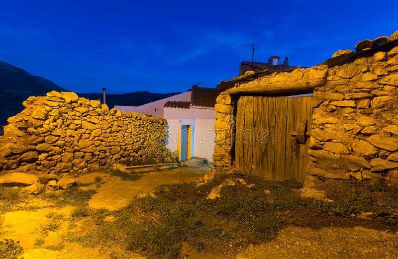 Άποψη νύχτας των γραφικών παλαιών σπιτιών στοκ φωτογραφία με δικαίωμα ελεύθερης χρήσης