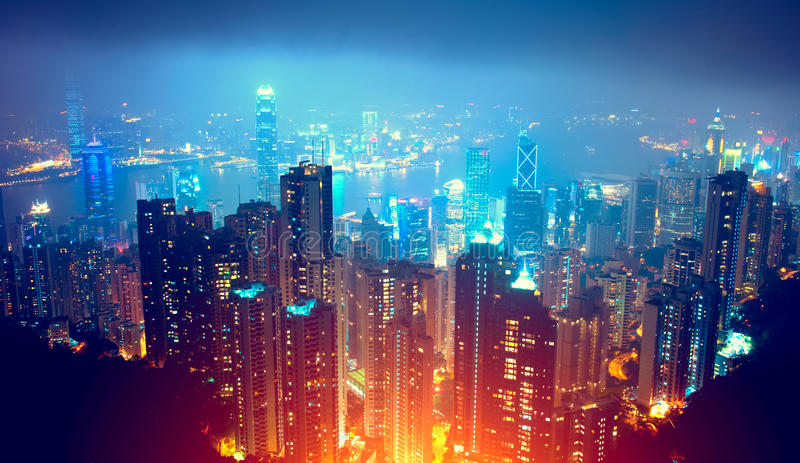Άποψη νύχτας Χονγκ Κονγκ στοκ φωτογραφίες με δικαίωμα ελεύθερης χρήσης