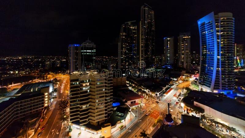 Άποψη νύχτας Gold Coast στοκ φωτογραφία με δικαίωμα ελεύθερης χρήσης