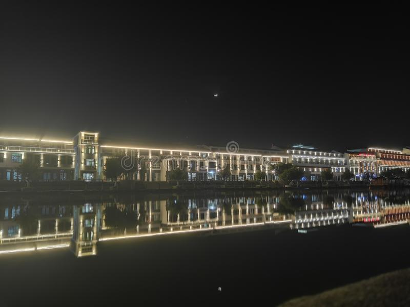Άποψη 3 νύχτας Qiao dun στοκ εικόνα με δικαίωμα ελεύθερης χρήσης