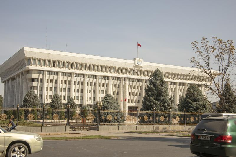 Άποψη οδών του Λευκού Οίκου, Bishkek, Κιργιστάν στοκ εικόνα