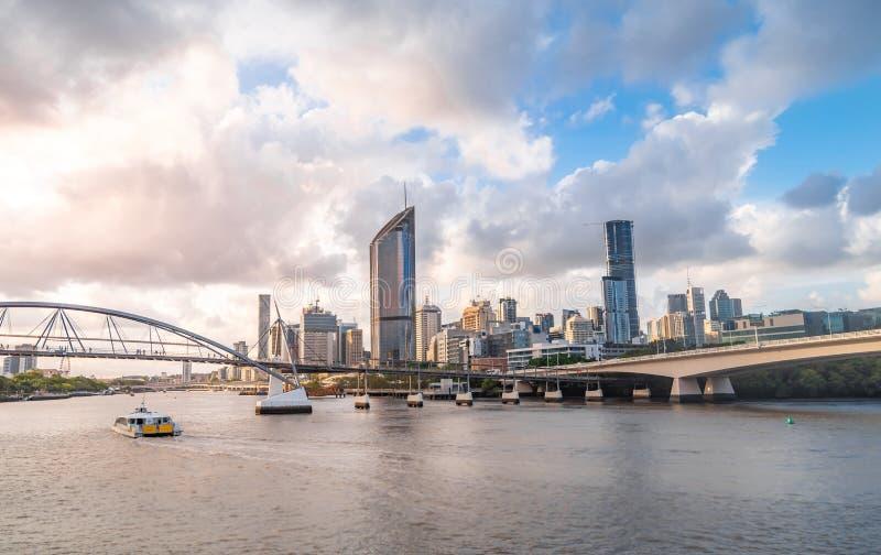 Άποψη οριζόντων πόλεων του Μπρίσμπαν από Southbank στοκ εικόνες με δικαίωμα ελεύθερης χρήσης