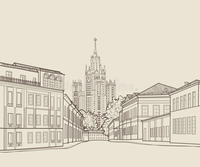 Άποψη οδών πόλεων της Μόσχας με το διάσημο ουρανοξύστη του Στάλιν που στηρίζεται στο υπόβαθρο Ορίζοντας χάραξης της Ρωσίας ταξιδι ελεύθερη απεικόνιση δικαιώματος