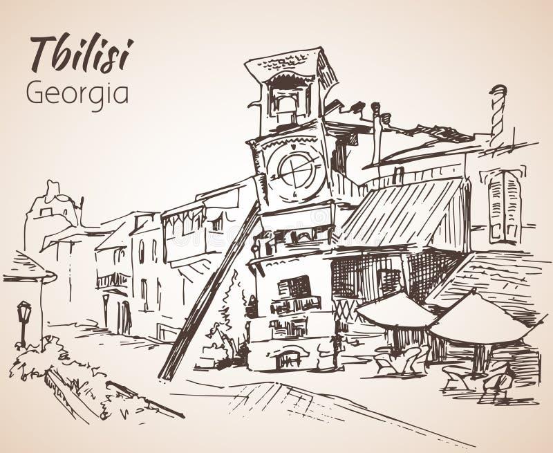 Άποψη οδών του παλαιού Tbilisi, Γεωργία απεικόνιση αποθεμάτων