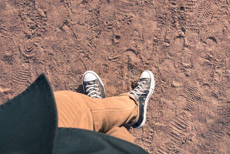 Άποψη πάνινων παπουτσιών άνωθεν στοκ εικόνα