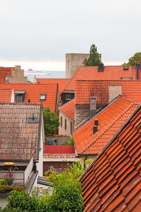 Άποψη πέρα από τη σουηδική πόλη Visby στοκ εικόνα