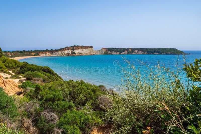 Άποψη πέρα από τον κόλπο και την παραλία Gerakas και της δύσκολης χερσονήσου, Ζάκυνθος στοκ φωτογραφίες με δικαίωμα ελεύθερης χρήσης