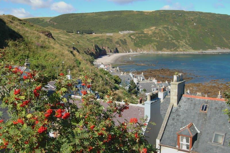 Άποψη πέρα από τον κόλπο Seatown και Gamrie, Σκωτία στοκ εικόνα