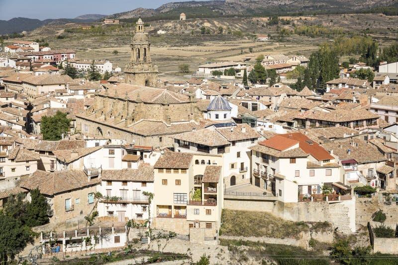 Άποψη πέρα από Rubielos de Mora την πόλη, επαρχία Teruel, Αραγονία, Ισπανία στοκ εικόνα με δικαίωμα ελεύθερης χρήσης