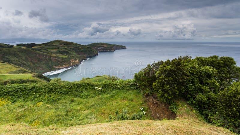 Άποψη πανοράματος από την άποψη Santa Iría, São Miguel, Αζόρες, Πορτογαλία στοκ εικόνα με δικαίωμα ελεύθερης χρήσης