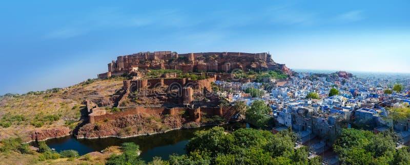 Άποψη πανοράματος η μπλε πόλη Jodhpur Rajasthan Ινδία στοκ φωτογραφία με δικαίωμα ελεύθερης χρήσης