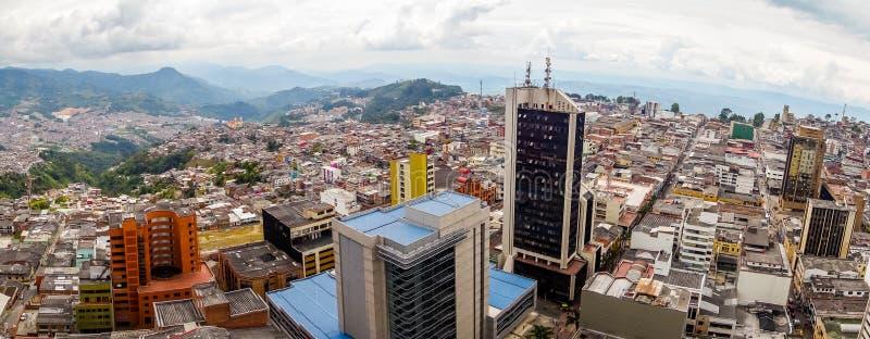 Άποψη πανοράματος της πόλης του Manizales στην Κολομβία στοκ εικόνες