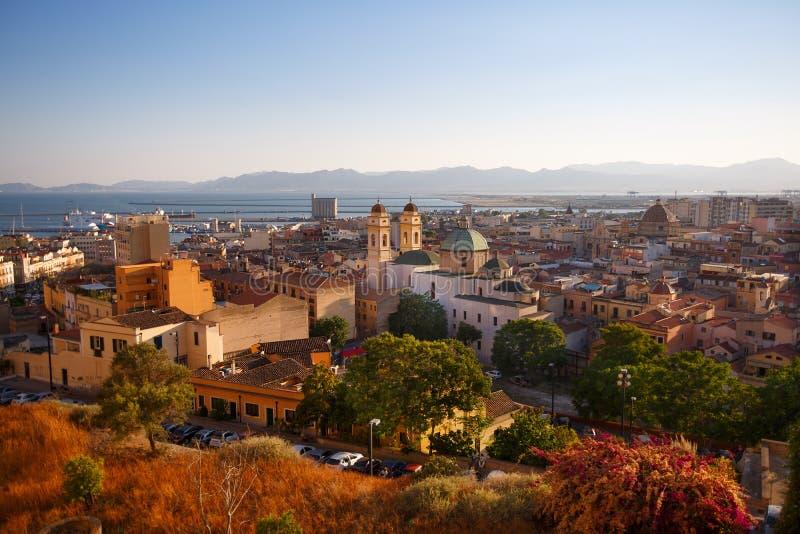 Άποψη πανοράματος του Κάλιαρι, Σαρδηνία, Ιταλία, Ευρώπη στοκ φωτογραφία με δικαίωμα ελεύθερης χρήσης