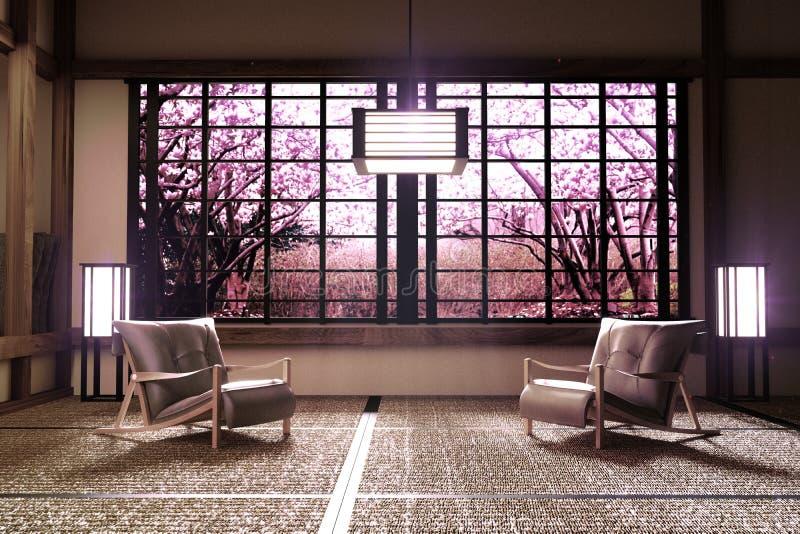 Άποψη παραθύρων δέντρων Sakura στο εσωτερικό δωματίων με, ύφος της Zen r διανυσματική απεικόνιση