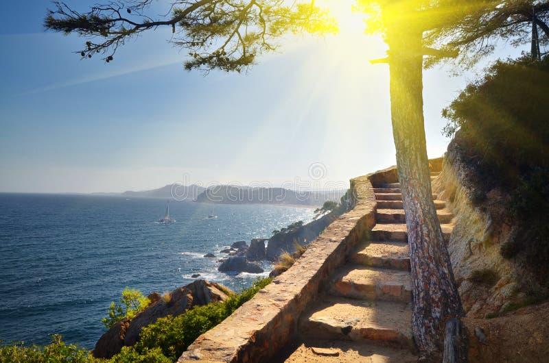 Άποψη του υποβάθρου φύσης διακοπών της Ισπανίας παραλιών στοκ φωτογραφία με δικαίωμα ελεύθερης χρήσης